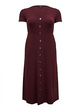 Plus Size Burgundy Purple Rib Button Midi Dress, WINETASTING, flat