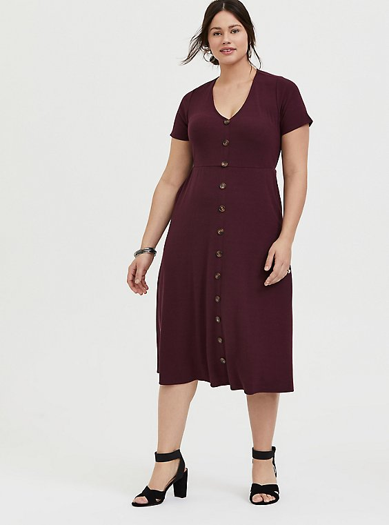 Plus Size Burgundy Purple Rib Button Midi Dress, , hi-res