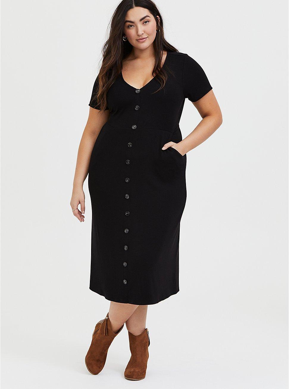 Black Rib Button Midi Dress, DEEP BLACK, hi-res