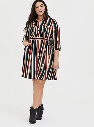 Plus Size Multi Stripe Challis Tie Front Mini Shirt Dress, STRIPE -BLACK, alternate