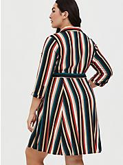 Multi Stripe Challis Self Tie Mini Shirt Dress, STRIPE -BLACK, alternate