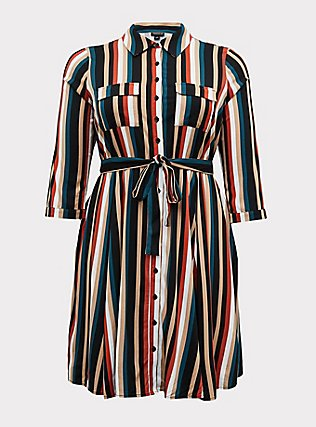 Plus Size Multi Stripe Challis Tie Front Mini Shirt Dress, STRIPE -BLACK, flat
