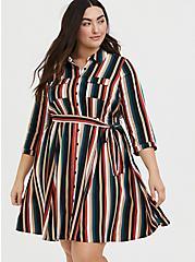 Multi Stripe Challis Self Tie Mini Shirt Dress, STRIPE -BLACK, hi-res