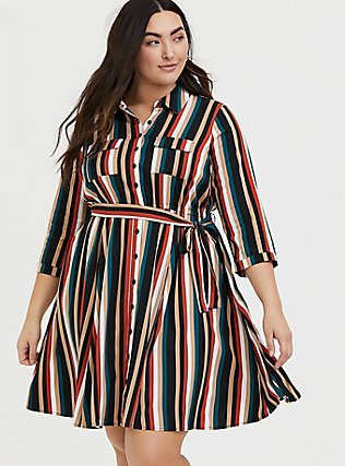 Plus Size Multi Stripe Challis Tie Front Mini Shirt Dress, STRIPE -BLACK, hi-res