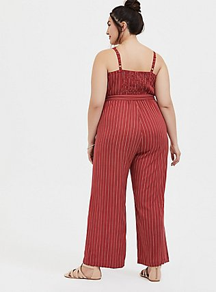 Plus Size Brick Red Stripe Challis Wide Leg Jumpsuit , RED STRIPE, alternate