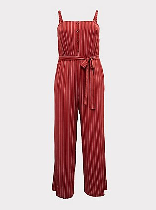 Plus Size Brick Red Stripe Challis Wide Leg Jumpsuit , RED STRIPE, flat