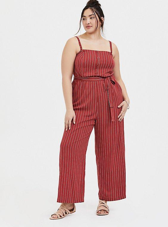 Brick Red Stripe Challis Self Tie Wide Leg Jumpsuit , , hi-res
