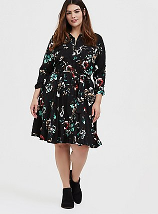 Plus Size Black Floral Challis Tie Front Shirt Dress, FLORAL - BLACK, alternate