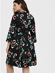 Black Floral Challis Tie Front Shirt Dress, FLORAL - BLACK, alternate