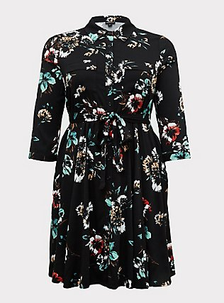 Plus Size Black Floral Challis Tie Front Shirt Dress, FLORAL - BLACK, flat