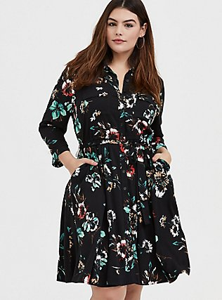 Plus Size Black Floral Challis Tie Front Shirt Dress, FLORAL - BLACK, hi-res