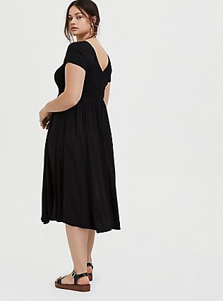 Plus Size Black Challis Smocked Midi Dress, DEEP BLACK, alternate