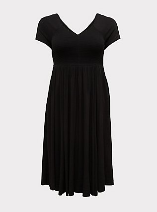 Plus Size Black Challis Smocked Midi Dress, DEEP BLACK, flat