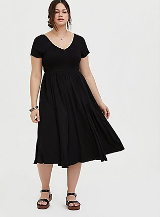 Plus Size Black Challis Smocked Midi Dress, DEEP BLACK, hi-res