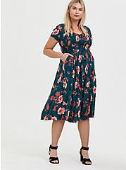 Dark Teal & Orange Floral Challis Smocked Midi Dress, FLORAL - TEAL, alternate