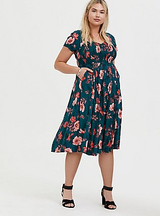 Plus Size Dark Teal & Orange Floral Challis Smocked Midi Dress, FLORAL - TEAL, alternate
