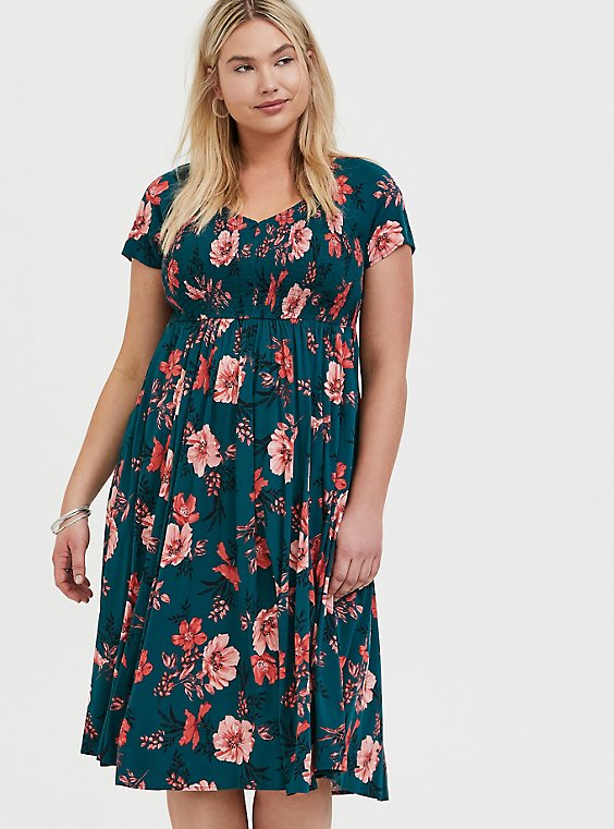 Dark Teal & Orange Floral Challis Smocked Midi Dress, , hi-res