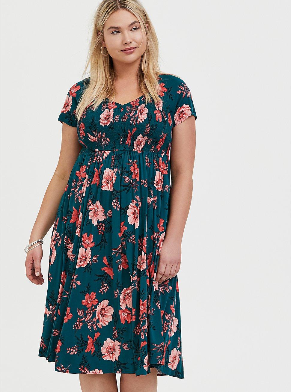 Dark Teal & Orange Floral Challis Smocked Midi Dress, FLORAL - TEAL, hi-res