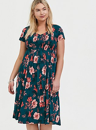 Plus Size Dark Teal & Orange Floral Challis Smocked Midi Dress, FLORAL - TEAL, hi-res