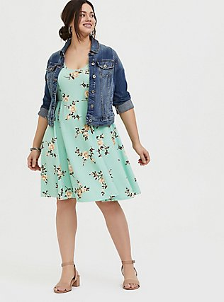 Plus Size Mint Green Floral Textured Mini Skate Dress, FLORAL - GREEN, alternate