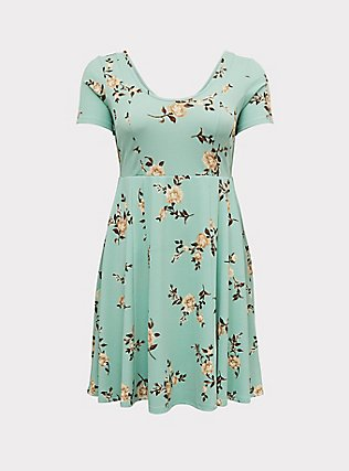 Plus Size Mint Green Floral Textured Mini Skate Dress, FLORAL - GREEN, flat