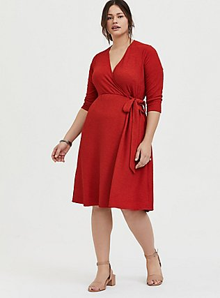 Plus Size Red Terracotta Textured Surplice Above-the-Knee Wrap Dress, , alternate