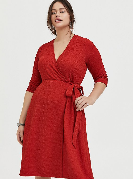 Plus Size Red Terracotta Textured Surplice Above-the-Knee Wrap Dress, , hi-res