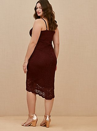 Plus Size Burgundy Purple Lace Hi-Lo Above-the-Knee Dress, WINETASTING, alternate
