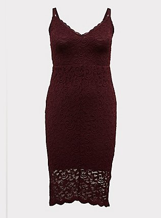 Plus Size Burgundy Purple Lace Hi-Lo Above-the-Knee Dress, WINETASTING, flat