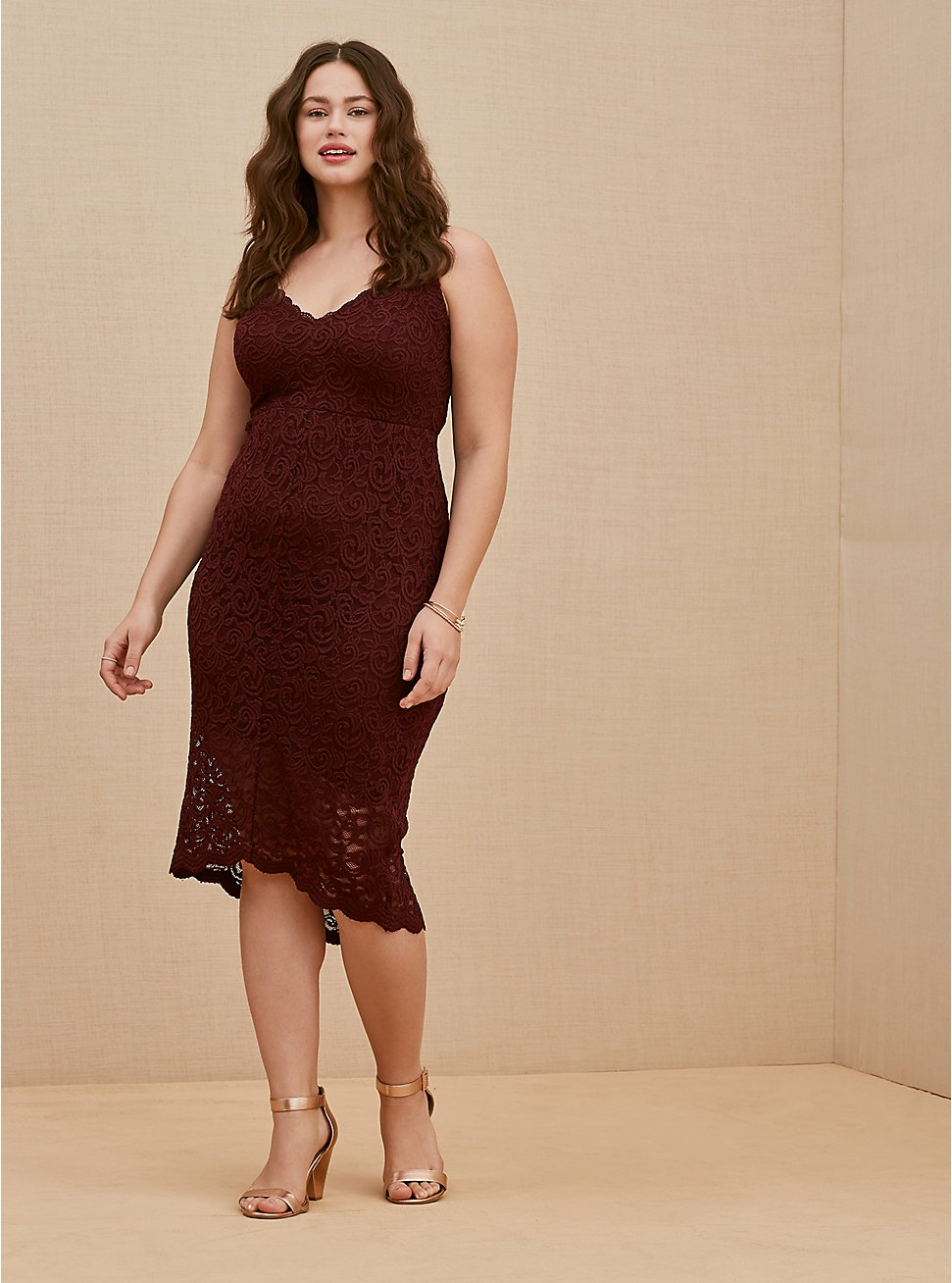 Burgundy Purple Lace Hi-Lo Above-the-Knee Dress, WINETASTING, hi-res