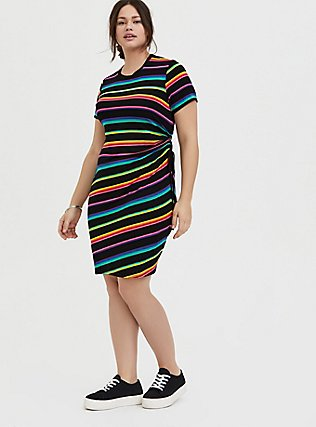 Plus Size Black & Rainbow Stripe Jersey Drawstring Side T-Shirt Dress, RAINBOW, alternate