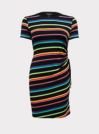Plus Size Black & Rainbow Stripe Jersey Drawstring Side T-Shirt Dress, RAINBOW, flat