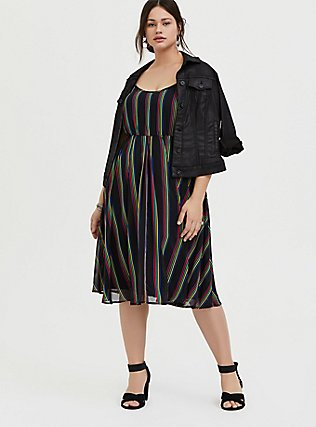 Plus Size Black Rainbow Stripe Chiffon Dress, RAINBOW, alternate