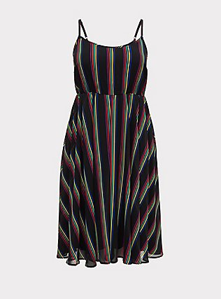 Plus Size Black Rainbow Stripe Chiffon Dress, RAINBOW, flat