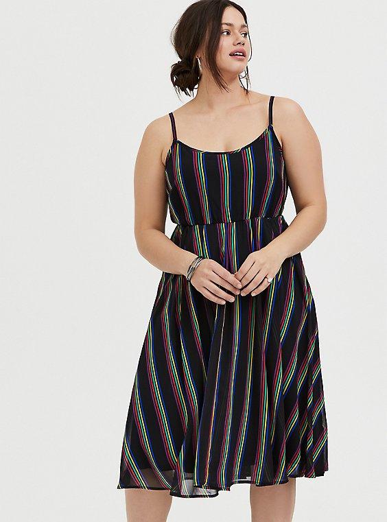 Black Rainbow Stripe Chiffon Dress, , hi-res