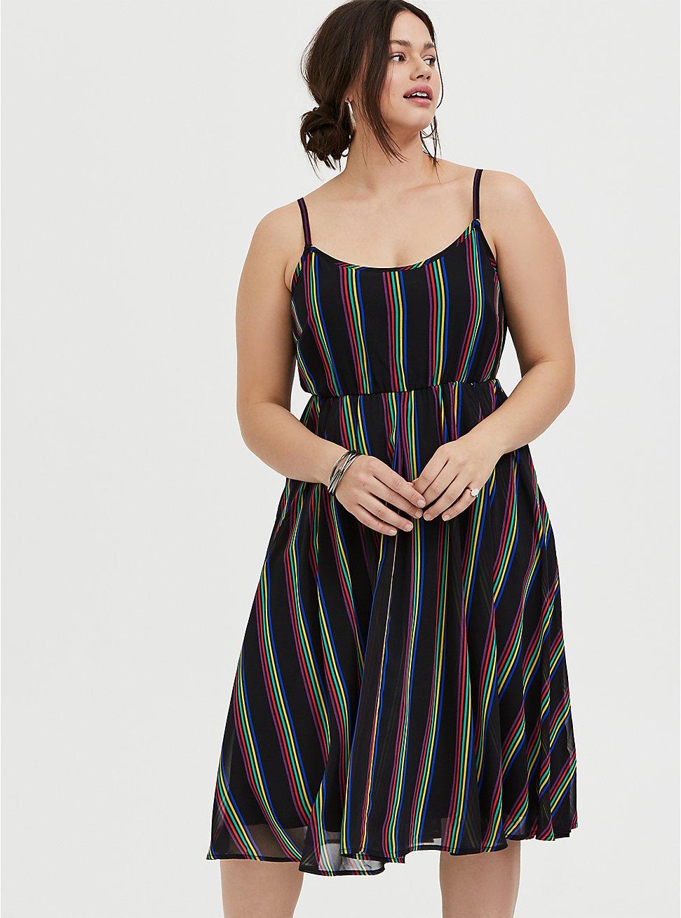 Black Rainbow Stripe Chiffon Dress 4