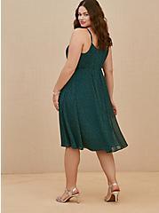 Teal Polka Dot Chiffon Pleated Midi Dress, DOTS - TEAL, alternate