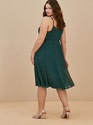 Plus Size Dark Teal Polka Dot Chiffon Pleated Midi Dress, DOTS - TEAL, alternate