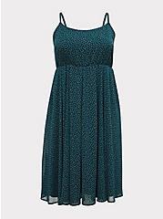 Teal Polka Dot Chiffon Pleated Midi Dress, DOTS - TEAL, hi-res