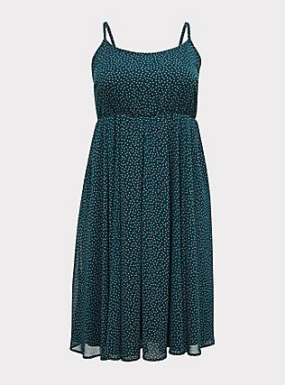 Plus Size Dark Teal Polka Dot Chiffon Pleated Midi Dress, DOTS - TEAL, flat