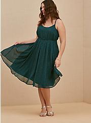 Dark Teal Polka Dot Chiffon Pleated Midi Dress, DOTS - TEAL, hi-res