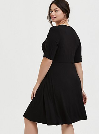 Plus Size Black Jersey Skater Midi Dress, DEEP BLACK, alternate