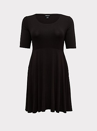 Plus Size Black Jersey Skater Midi Dress, DEEP BLACK, flat