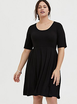 Plus Size Black Jersey Skater Midi Dress, DEEP BLACK, hi-res