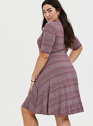 Plus Size Red Wine & Heathered Grey Stripe Jersey Skater Dress, STRIPE - RED, alternate