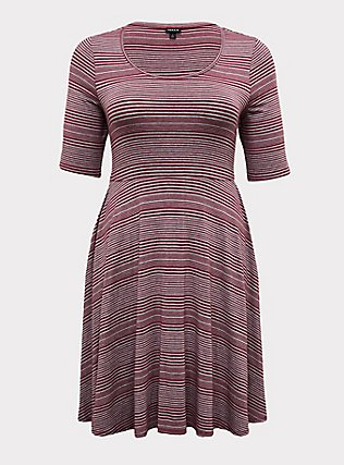 Plus Size Red Wine & Heathered Grey Stripe Jersey Skater Dress, STRIPE - RED, flat