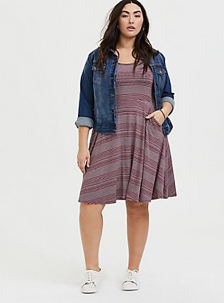 Plus Size Red Wine & Heathered Grey Stripe Jersey Skater Dress, STRIPE - RED, hi-res