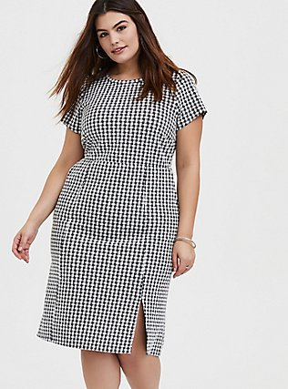 Plus Size Black Textured Gingham Front Slit Shift Dress, DEEP BLACK, hi-res
