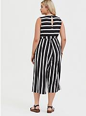 Plus Size Grey Stripe Textured Self Tie Culotte Jumpsuit, STRIPE - WHITE, alternate