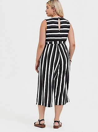 Plus Size Grey Stripe Textured Self-Tie Culotte Jumpsuit, STRIPE - WHITE, alternate